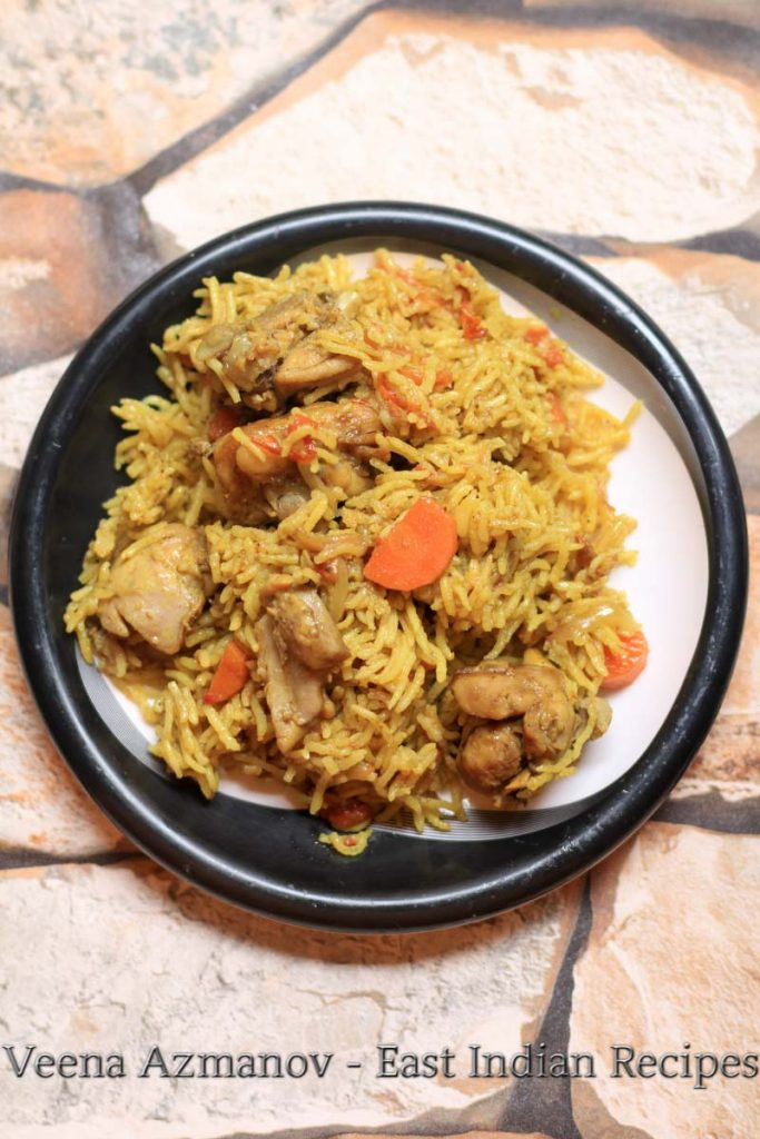 Chicken pulao is an easy east Indian rice recipe which has some veggies and is flavored with spices. Easy to make and hassle-free, this chicken pulao is perfect when your in a mood to enjoy some traditional lunch