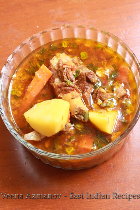Authentic east Indian recipe. Mutton stew with potatoes and goat meat