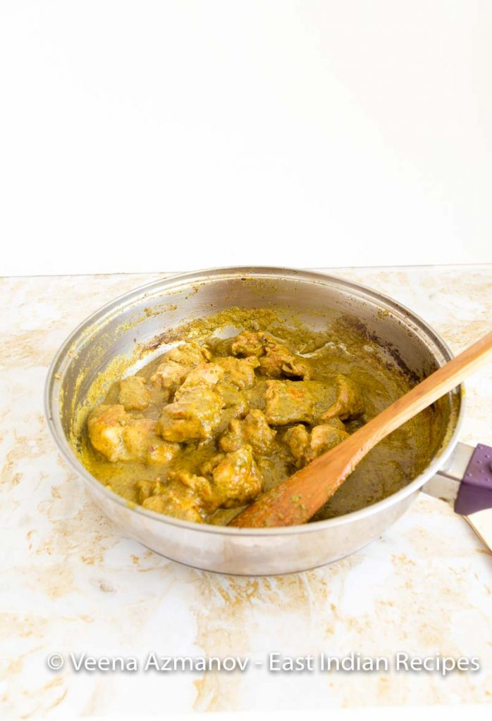 An East Indian Chicken Curry cooked in green cilantro masala and spices