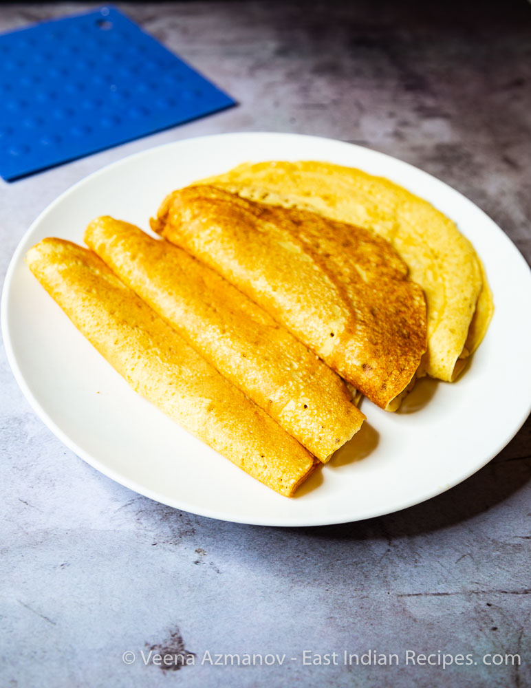 Homemade Rice Flour Crepes or Pancakes called Chitiaps