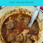 Pinterest image for Coconut mutton curry.