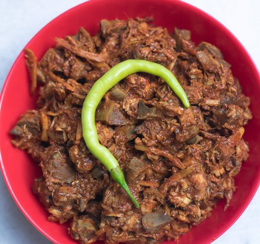 East indian sorptel is a bottle masala dish made using pork or chicken