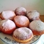 Jam donuts on a platter