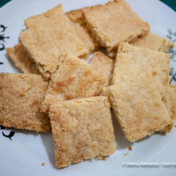 Shortbread squares on a white plate